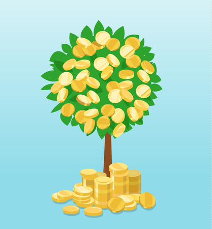 Money tree with coins growing
