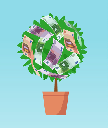 Money tree with euro banknotes growing. Business economic investment vector concept Illustration