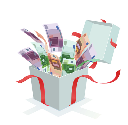 Money coming out of the gift box Çizim