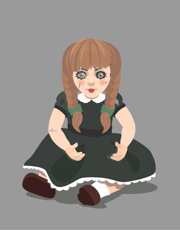 Vector evil doll on dark background, eps 10 Stock fotó - 82894351