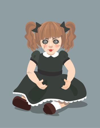Evil doll on dark background, eps 10