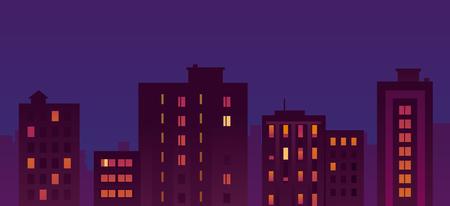 Flat City Night Buildings Illustration