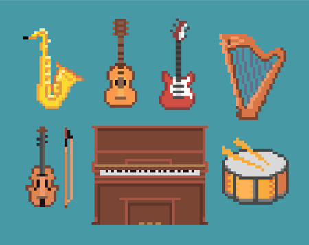Various Music Pixel Instruments Icons. Illustration