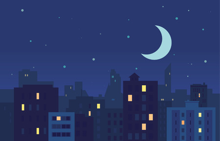 City Night Buildings With Moon Illustration
