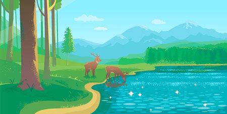 Summer Landscape With Lake and Deer Illustration
