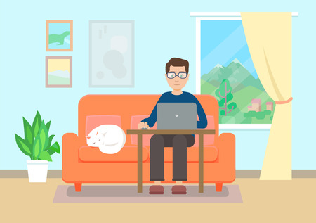 Man working at home. Flat style Stock fotó - 102332306