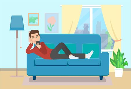 Man on sofa with smartphone. Flat style