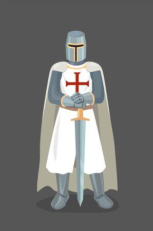 Illustration vectorielle de chevalier templier avec épée