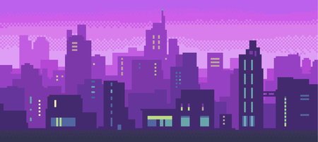 Vector illustration of a night glowing neon city