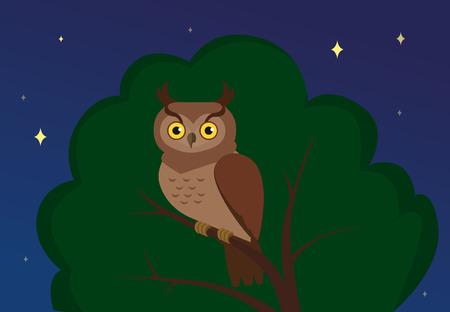 Flft illustration of owl sitting on a tree at night