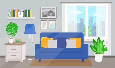 Room interior with blue sofa and window Ilustrace