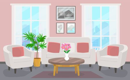 Living room with white sofa and two chairs Иллюстрация