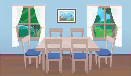 Interior de comedor con mesa y ventanas. Ilustración de vector