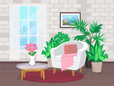 living room interior with plants and window
