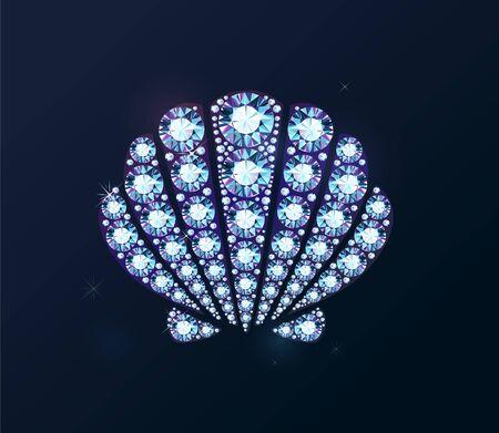 Shiny diamond holographic shell on dark background Ilustrace