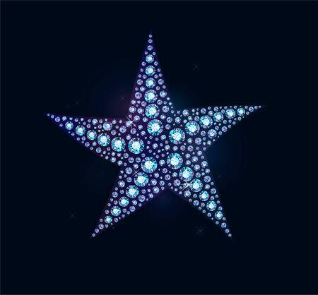 Shiny diamond holographic sea star on dark
