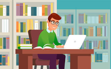 Vector young man working or study on laptop in library