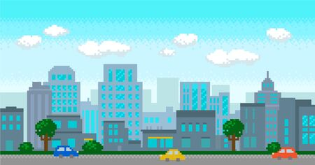 Pixel art modern city with buildings panorama