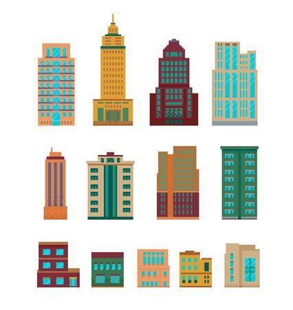 Pixel art set of modern various buildings