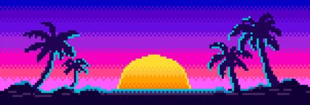 Sunrise with gradient and silhouette of palm trees in the background in 80s-90s neon noir style