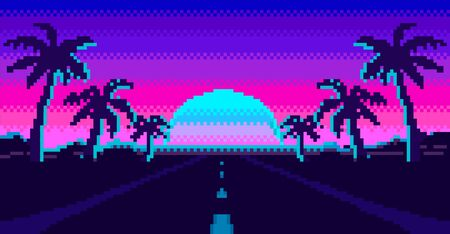 Retro sunrise with palm silhouette and road