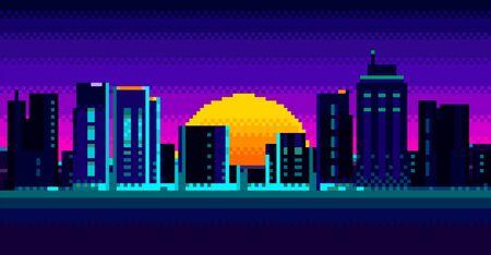 Retro sunrise with sun and neon city view
