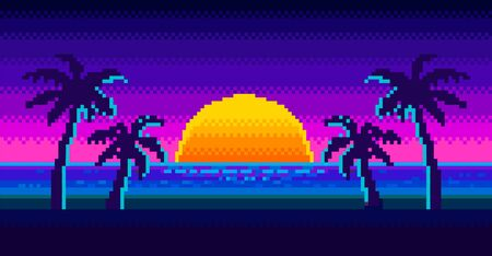 Sunrise on beach and silhouette of palm trees in the background in 80s-90s neon noir style Ilustrace