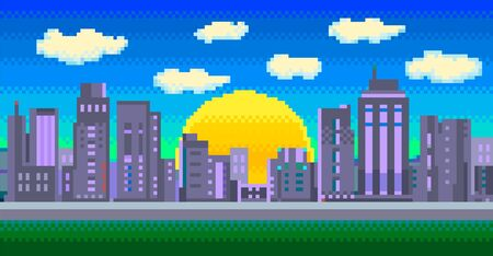 Vector Pixel illustration of a colorful modern city with sun