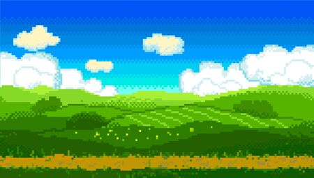 Pixel green landscape with fields and road