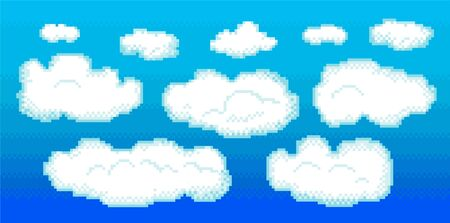 Pixel clouds set for games and mobile applications