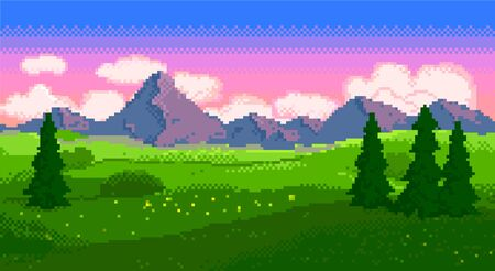 Pixel sunset landscape with fields and mountains