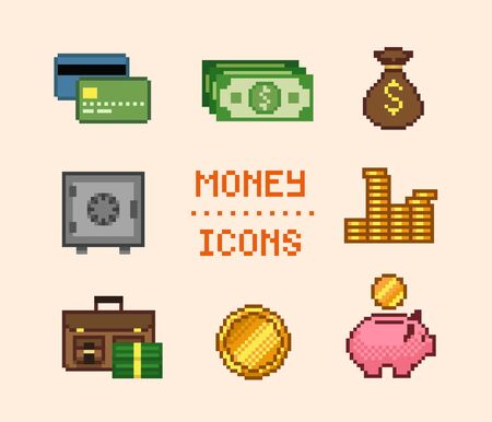 Set of pixel finance icons with coins and cash Ilustrace