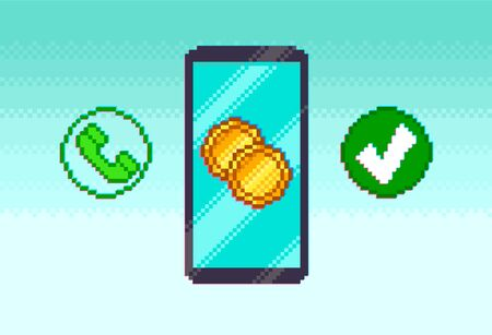 Pixel mobile phone with icons on blue