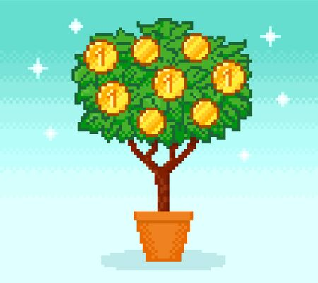 Pixel money tree in pot with coins on blue Ilustrace