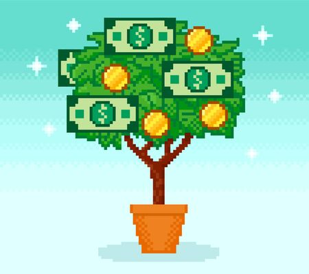 Pixel money tree in pot with coins and cash