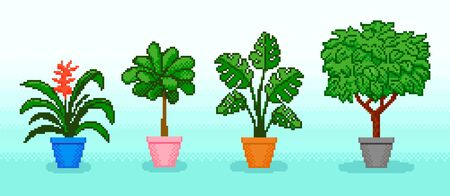 Pixel various potted plants with leafs on blue background Ilustrace