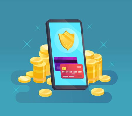 Mobile phone and credit card with shield and money. Online payment security Ilustrace
