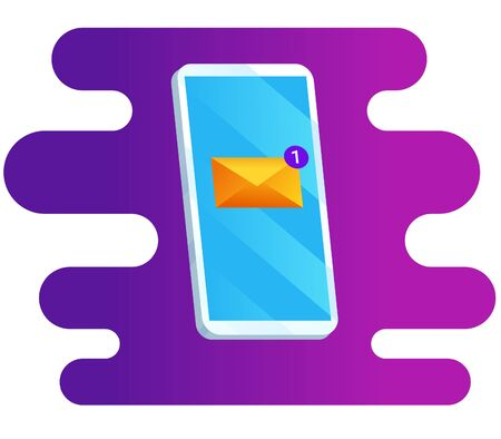 Phone and incoming message on abstract background. Vector illustration