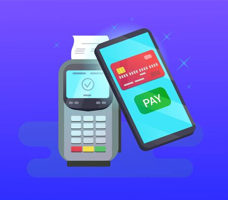 POS terminal with credit card with mobile phone