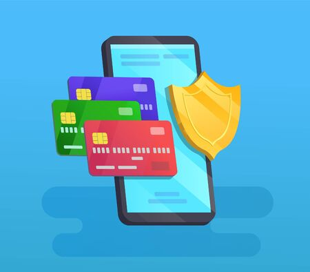 Safety payment by cards, cellphone with shield