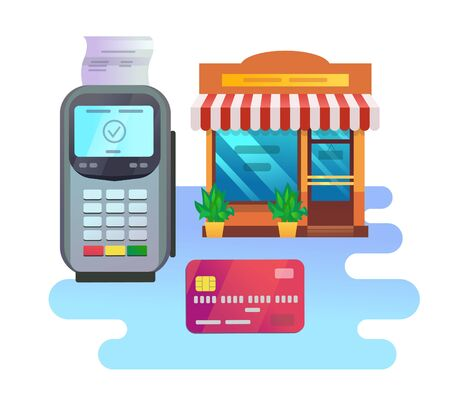 POS terminal with credit card with shoping building Ilustrace