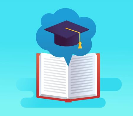 Graduation cap and opened book in bubble on blue Illustration