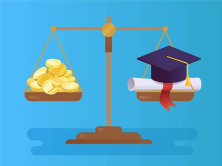 Graduation cap, certificate and coins on scales