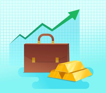 Gold bar with graph and green arrow on background Ilustrace