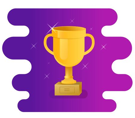 Shiny trophy cup icon on abstract violet background
