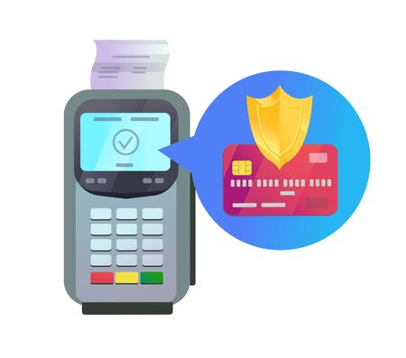 POS terminal with credit card and protection Ilustrace
