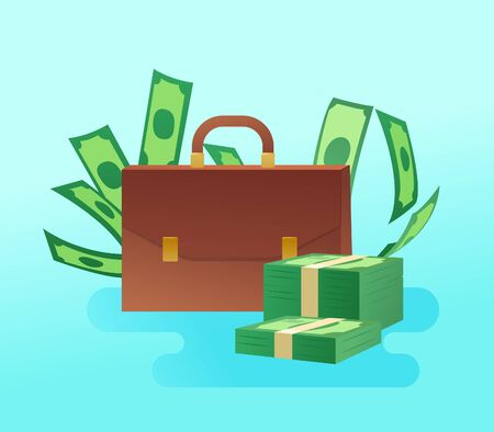 Briefcase with pile of cash on blue background Ilustrace