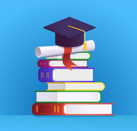 Graduation cap, certificate and stack of books