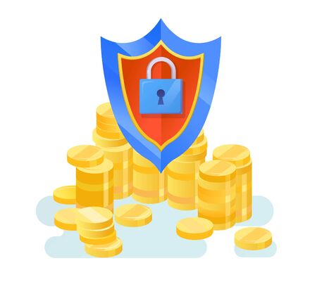 Vector money protection with shield and lock