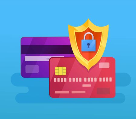 Credit cards protection with shield and lock